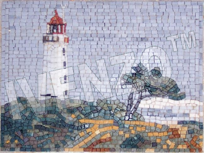 Mosaïque LK001 Phare Hiddensee Dornbusch